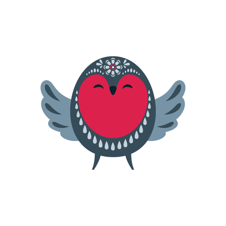 Cute bird in ethnic style. Vector illustration isolated on a white background.