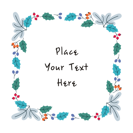 Christmas floral frame. Vector background in doodle style.