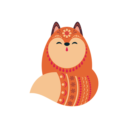 Cute fox in ethnic style. Vector illustration isolated on a white background.  イラスト・ベクター素材