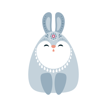Cute rabbit in ethnic style. Vector illustration isolated on a white background.  イラスト・ベクター素材