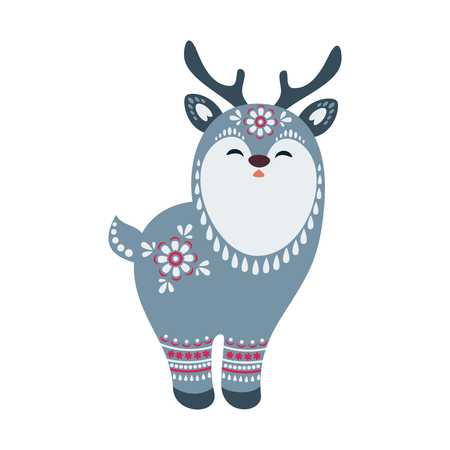 Cute deer in ethnic style. Vector illustration isolated on a white background.