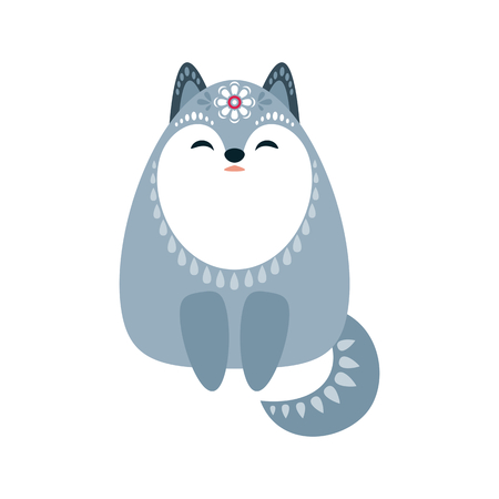 Cute wolf in ethnic style. Vector illustration isolated on a white background.