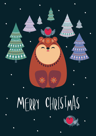 Christmas greeting card with cute bear. Vector background.
