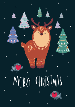 Christmas greeting card with cute deer. Vector background.