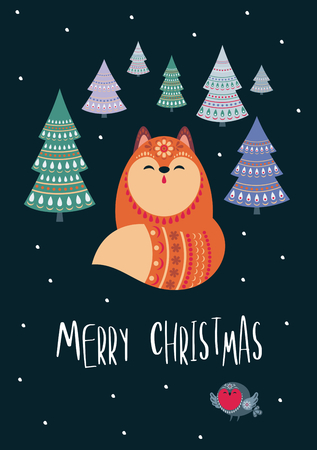 Christmas greeting card with cute fox. Vector background.  イラスト・ベクター素材