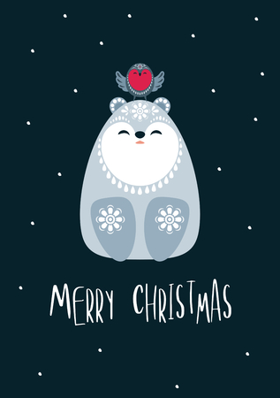 Christmas greeting card with cute polar bear. Vector background.  イラスト・ベクター素材
