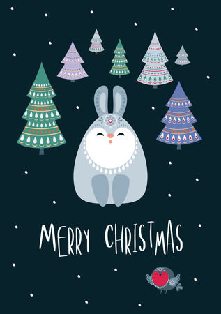 Christmas greeting card with cute rabbit. Vector background.  イラスト・ベクター素材