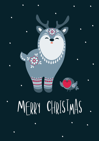 Christmas greeting card with cute reindeer. Vector background.