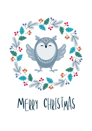 Christmas greeting card with cute owl. Vector background.
