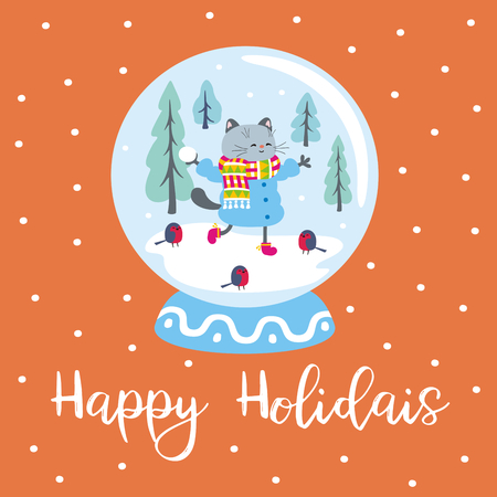 Funny winter poster with snow globe and cheerful cat. Vector illustration. Illustration