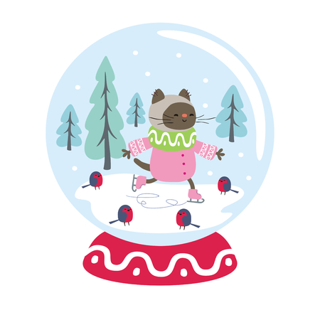 Snow globe with funny cat and winter landscape. Vector illustration isolated on a white background. Stock Illustratie