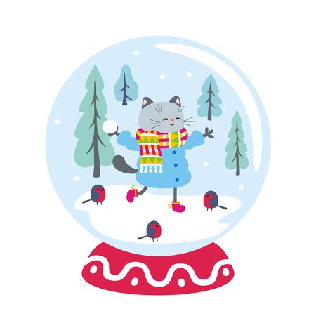 Snow globe with funny cat and winter landscape. Vector illustration isolated on a white background. Illustration