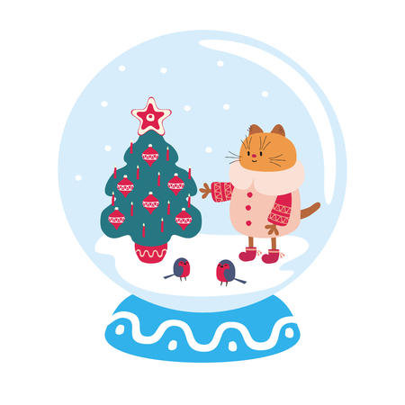 Snow globe with funny cat and winter landscape. Vector illustration isolated on a white background.  イラスト・ベクター素材