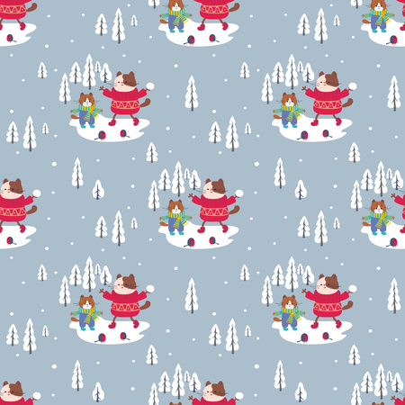 Funny seamless pattern with cheerful cats. Vector background.  イラスト・ベクター素材