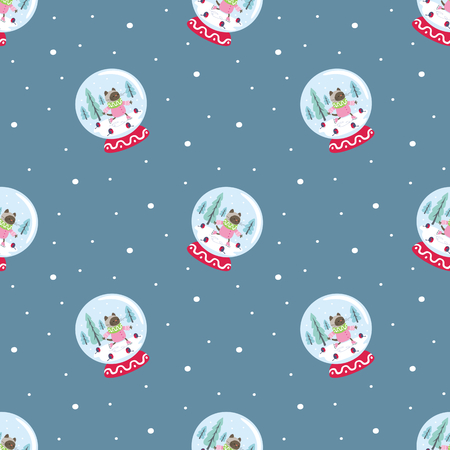 Funny seamless pattern with snow globes and cheerful cats. Vector background.