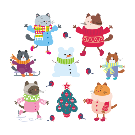 Christmas set with funny cats in doodle style. Vector illustrations isolated on a white background.