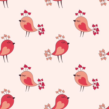 Valentine seamless pattern with cute birds. Vector illustration isolated on a white background. Illustration