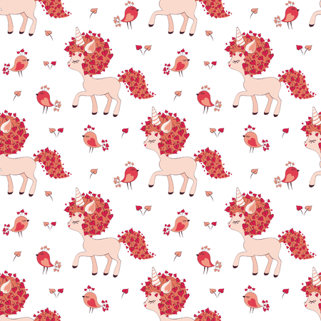 Valentine seamless pattern with cute unicorns and birds. Vector illustration isolated on a white background.  イラスト・ベクター素材
