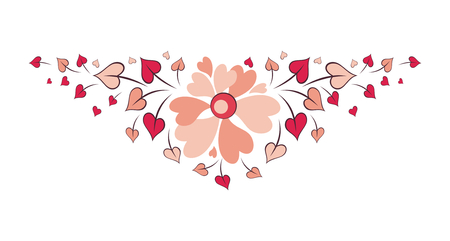 Valentine floral arrangement. Vector illustration isolated on a white background.