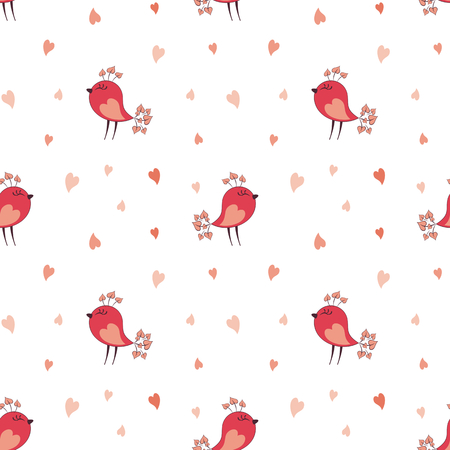 Valentine seamless pattern with cute birds. Vector illustration isolated on a white background.  イラスト・ベクター素材