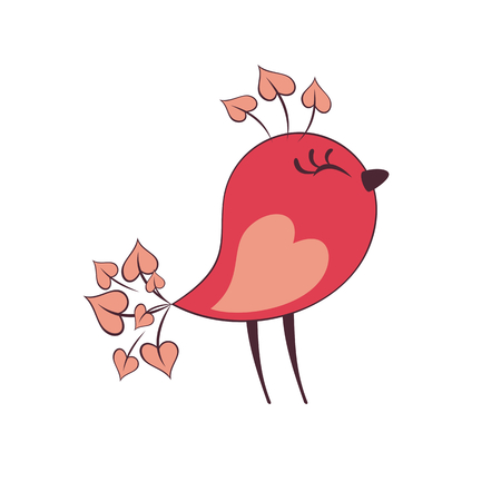 Cute pink bird in cartoon style. Vector illustration isolated on a white background.  イラスト・ベクター素材