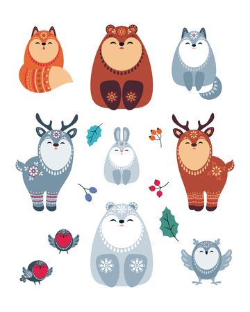 Cute animals in ethnic style. Christmas illustration isolated on a white background. Vector set.  イラスト・ベクター素材