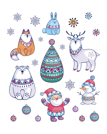 Santa Claus and cute animals in ethnic style. Christmas illustration isolated on a white background. Vector set.