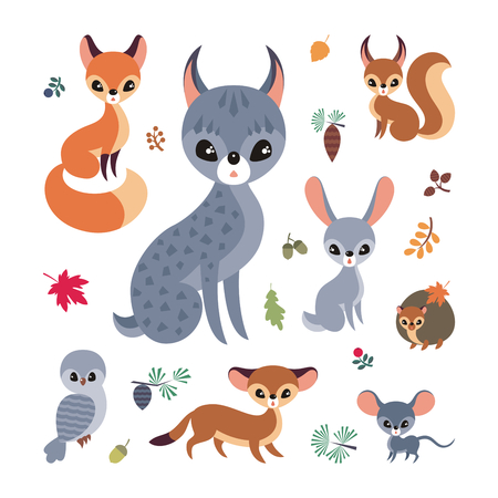 Cute forest animals in cartoon style. Childhood illustration isolated on a white background. Vector set.  イラスト・ベクター素材