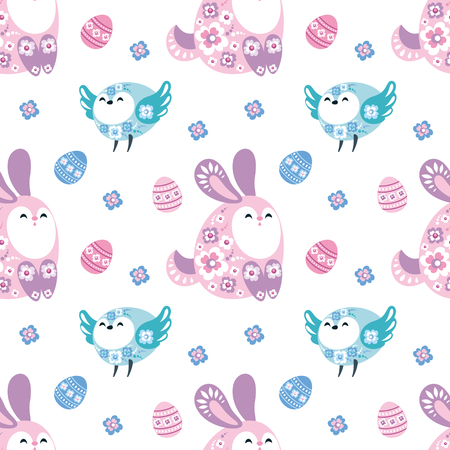 Colorful seamless pattern with the image of Easter eggs, rabbits and birds. Vector background.
