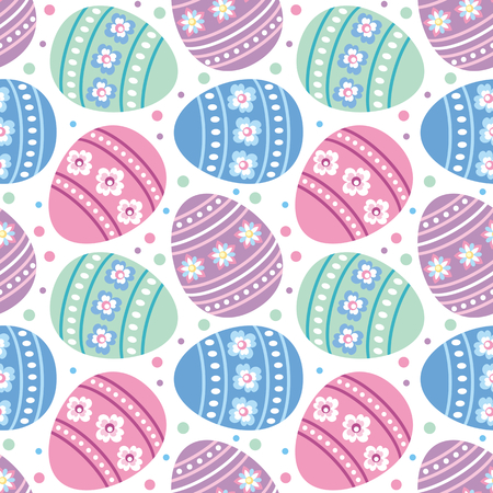 Colorful seamless pattern with the image of Easter eggs. Vector background.  イラスト・ベクター素材