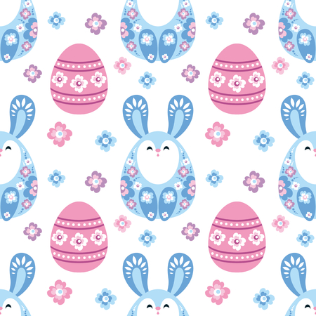 Colorful seamless pattern with the image of Easter eggs and rabbits. Vector background.