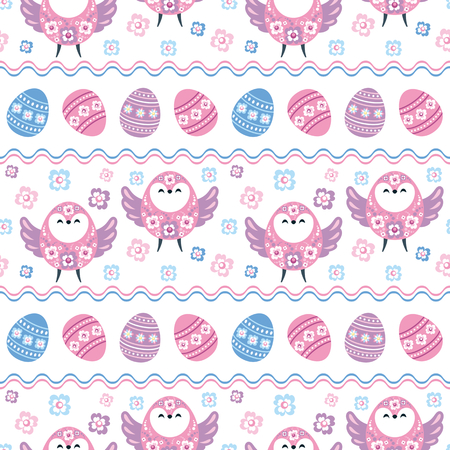 Colorful seamless pattern with the image of Easter eggs and birds. Vector background.  イラスト・ベクター素材