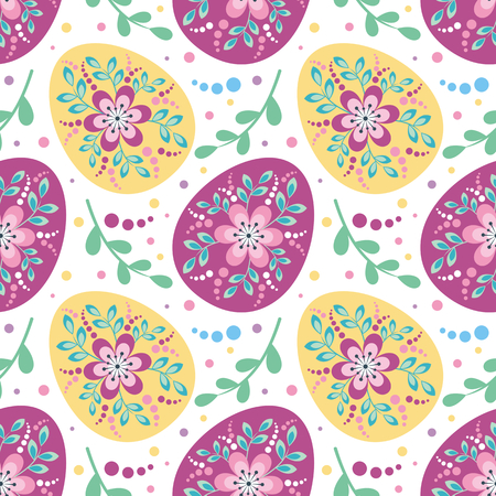 Colorful seamless pattern with the image of Easter eggs. Vector background. Illustration