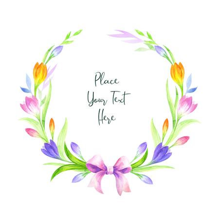 Ręcznie rysowane wieniec wielkanocny z wiosennych kwiatów na białym tle. Malarstwo akwarelowe.