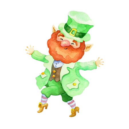 Patrick's day watercolor illustration. Hand drawn dancing leprechaun.