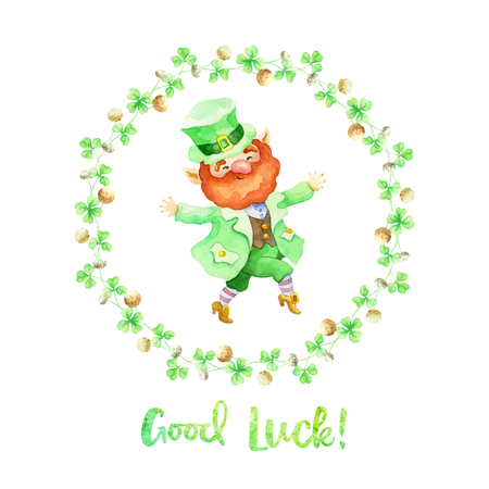 Hand drawn Patrick's day design on a white background. Watercolor painting. Foto de archivo