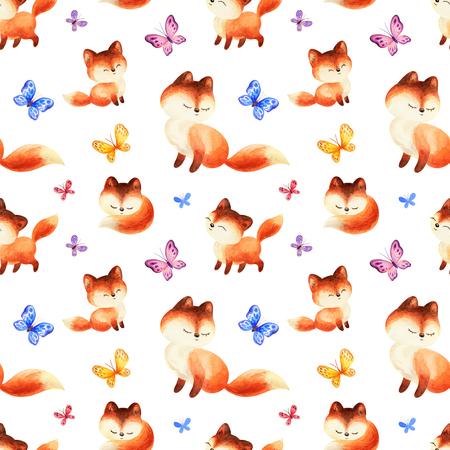 Childhood seamless pattern with cute red foxes and butterflies. Hand painted watercolor illustrations isolated on a white background.