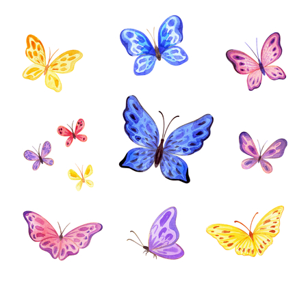 ?ute butterflies set. Hand painted watercolor illustrations isolated on a white background. 版權商用圖片