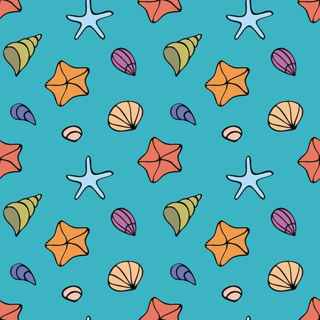 Colorful seamless pattern with sea creatures in doodle style. Vector background. Ilustração