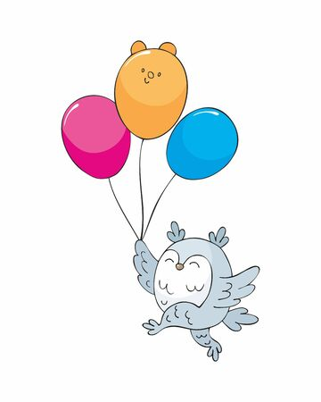 Owl with balloons. Cute woodland animal in doodle style isolated on a white background. Childhood vector illustration. Standard-Bild - 133947771