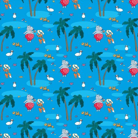 Colorful seamless pattern with cute animals and summer beach. Vector background in doodle style. Standard-Bild - 133947787