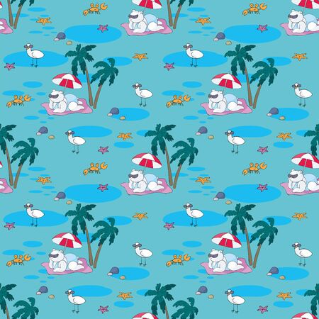 Colorful seamless pattern with cute animals and summer beach. Vector background in doodle style.