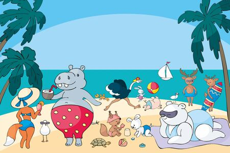 Colorful summer poster with cute animals and summer beach. Vector illustration in doodle style.
