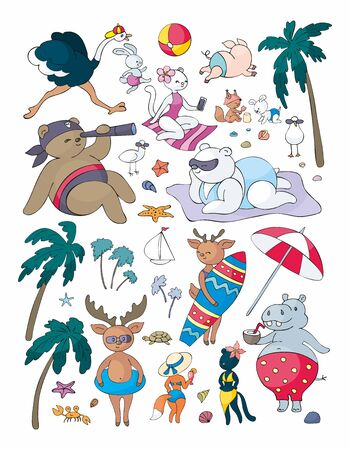 Colorful cute animals on the beach. Vector illustrations set in doodle style isolated on a white background.