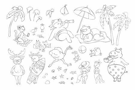 Cute animals on the beach. Vector illustrations set in doodle style isolated on a white background. Standard-Bild - 133947885