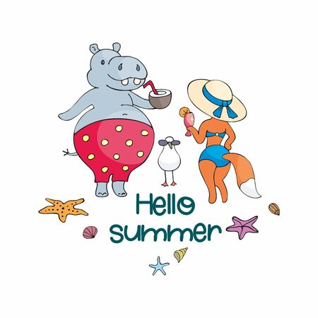 Colorful summer poster with cute animals. Vector illustration in doodle style isolated on a white background.