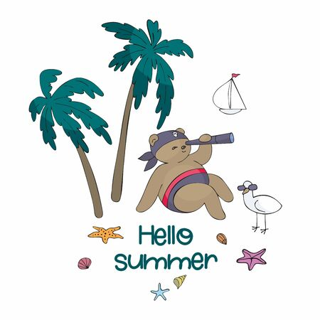 Colorful summer poster with cute animal. Vector illustration in doodle style isolated on a white background.