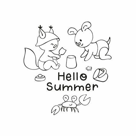 Summer poster with cute animal. Vector illustration in doodle style isolated on a white background. Standard-Bild - 133947893