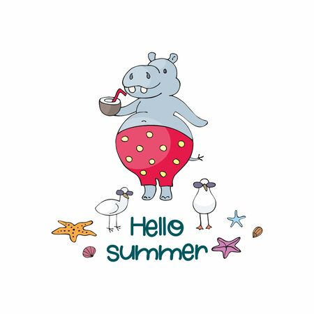 Colorful summer poster with cute animal. Vector illustration in doodle style isolated on a white background. Standard-Bild - 133947932