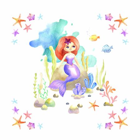 Beautiful mermaid. Colorful hand drawn illustration isolated on a white background. Watercolor painting.